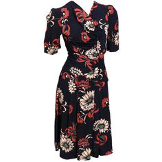 Preowned Debbie Harry Vintage Collection 40's Floral Dress (60.870 RUB) ❤ liked on Polyvore featuring dresses, black, floral day dress, double layer dress, ruched dress, sexy ruched dress and sexy floral dresses
