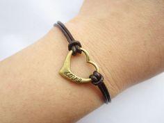 Lover Braceletantique bronze little love heart by lightenme, $2.99