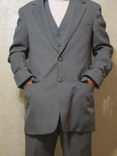 Vintage Mens 38R Sears PERMA PREST 3 Piece Grey Pinstripes Suit EUC #SearsPERMAPREST #TwoButton