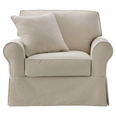 Home Decorators Collection Mayfair Slipcovered Chair A sizable seat to snuggle up into, with your furry friend snoozing at your side. This plush slipcovered armchair has an understated, traditional style and is available in a spectrum of neutral shades to complement any space.
