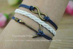 Bronze Infinity wish & Anchor Charm Bracelet navy by HandmadeTribe, $2.99 Fashion handmade leather bracelet