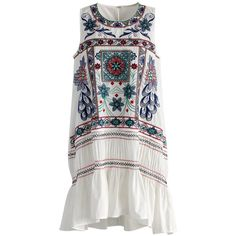 Chicwish Boho Fun Story Ruffled Dress in White ($53) ❤ liked on Polyvore featuring dresses, boho, white, white embroidered dress, white cotton dress, white bohemian dress, cotton dresses and bohemian style dresses