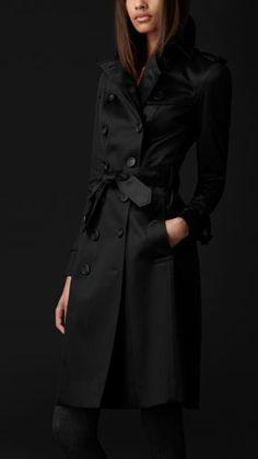 Long Cotton Sateen Trench Coat