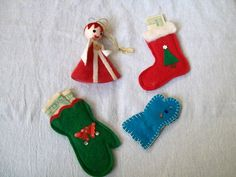 Vintage Christmas Ornament Mittens Stocking by VintagePlusCrafts, $8.00