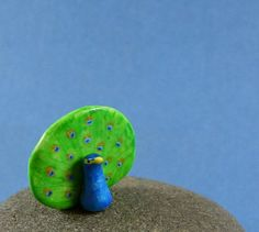 Little Peacock - Hand Sculpted Miniature Polymer Clay Animal