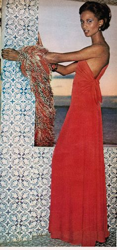 Hubert Latimer for Mollie Parnis red maxi dress 1973 Vogue (i think i have this one tucked away in the racks!)