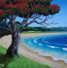 Come and join us for a fun Pohutukawa Painting Workshop with step by step instructions. Fantastic for beginners with easy techniques to make painting easy. Art Lessons & workshops in Auckland, Kerikeri, Russell and Whangarei. Night Painting, Art Painting, Beach Painting, Spring Painting, Waterfall Paintings, Surfboard Painting, Art, Painting Workshop, Nz Art