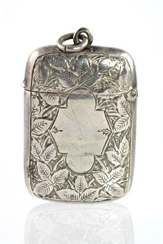 Antique Victorian 925 Sterling Silver Embossed Chatelaine Match Safe Pendant''',also known as 'Vesta' case...