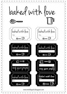 FREE printable baking good labels | baked with love tags ^^
