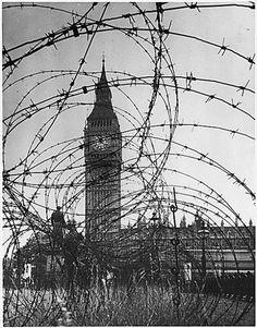 Big Ben through barbed wire in WW2 ,London