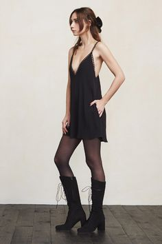 Nothing makes us feel prettier than a little negligee. The Ozone Dress has the feel of lingerie, except it's socially acceptable to wear out of your house. This is a loose-fitting slip dress with a lace-trimmed plunging V neckline and side pockets.    https://www.thereformation.com/products/ozone-dress-black?utm_source=pinterest&utm_medium=organic&utm_campaign=PinterestOwnedPins