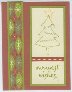 Sew seasonal Christmas tree and sentiment matted with strip of patterned paper