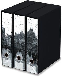 KAOS Lever Arch Files 2ring Binders with slipcase, Spine 8 cm, 3 pcs Set  - PIAZZA SAN MARCO, VENICE - 3 pcs Set Dimensions: 26.8x35x29 cm