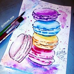 maccaron,watercolor painting @chloee_eva_drawings