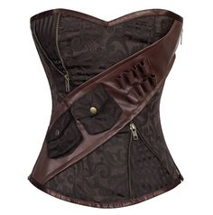 Chocolate brown floral brocade all over, but then those sexy brass zippers reveal striped brocade, and just think how many things you can tuck into that oh so useful belt! Steampunk heaven here! The Violet Vixen - Mercurial Steamtrooper Brown Corset, $138.00 (http://thevioletvixen.com/corsets/mercurial-steamtrooper-brown-corset/)