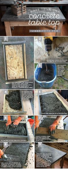 Make a Concrete Table Top - Woodworking Diy Concrete Table Top, Stain Concrete, Cement Patio, Cement House, Concrete Forms, Concrete Color, Concrete Design, Beton Design, Do It Yourself Furniture
