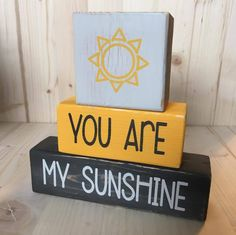 Custom Wood Blocks, Nursery Blocks, You Are My Sunshine, Nursery Decor