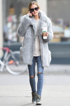 Who: Olivia Palmero What: A Gary Shearling Why: The jacket is the ideal shade for chilly days—and is incredibly warm. Get the look now: Tibi coat, $3,250, tibi.com. - HarpersBAZAAR.com