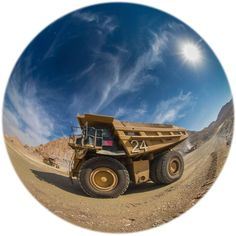 An interesting image from the world of mining. We would like you to come and see the rest of our amazing, rapidly growimg imagery on Mining Photos and Videos and help us grow. Fisheye 1153 Dump Truck. Cat 785 payload 145 tonne.  || https://uk.pinterest.com/bluedogsci/mining-photos-and-videos/ || #mining #science #engineering #industry #bluedogsci