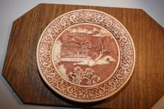 Oriental Collectible Plate Brick Red Carved Look - MUST SEE!!!