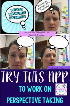 Photo Thought Bubbles App To Work On Perspective Taking in social skills therapy. Social Skills Autism, Social Skills Lessons, Social Skills Activities, Teaching Social Skills, Speech Therapy Activities, Speech Language Pathology, Speech And Language, Receptive Language, Perspective Taking