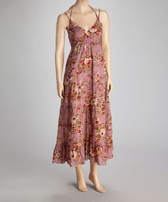 Take a look at this Dusty Pink & Green Shirred Halter Dress by Magazine Clothing on #zulily today!