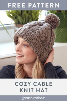 Knit a warm cabled hat quickly with Bernat Softee Chunky! This super chunky yarn. : Knit a warm cabled hat quickly with Bernat Softee Chunky! This super chunky yarn knitting pattern works up fast. Beanie Knitting Patterns Free, Knitting Yarn, Free Knitting, Chunky Hat Pattern, Bernat Softee Chunky Yarn, Knitted Hats, Crochet Hats, Super Chunky Yarn, Cable Knit Hat