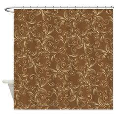 Brown Decorative Swirls Floral Shower Curtain