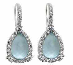 Judith Ripka Sterling Pear Shaped Triplet Earrings
