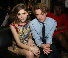 Charlie Heaton and Natalia Dyer at the Entertainment Weekly Celebration of SAG Award Nominees event in January 2017...
