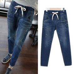 2016 Spring Autumn Women Jeans Harem Pants Plus Sizie 5XL Blue Mid Waist Full Length Lady Loose Women Pants Lady Long Trousers - http://fashionfromchina.net/?product=2016-spring-autumn-women-jeans-harem-pants-plus-sizie-5xl-blue-mid-waist-full-length-lady-loose-women-pants-lady-long-trousers