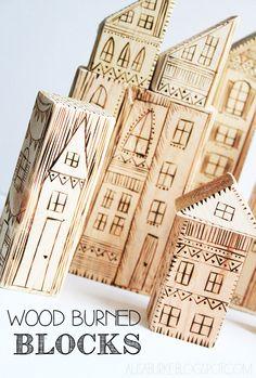wood burned blocks