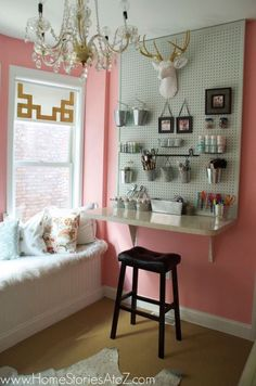 Like the look of the floating desk at the end of the peg board Information on 31 Pegboard Ideas for Your Craft Room - Happily Ever After, etc. Pin You Floating Desk, Desk Areas, Pink Room, Craft Corner, Sewing Rooms, Space Crafts, Craft Space, Craft Storage, Storage Ideas