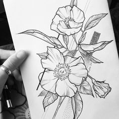 Tropical Flowers Garden Pathways Printing Ideas Useful Hand Poked Tattoo, Tattoo On, Mandala Tattoo, Flower Outline, Flower Art, Ink Pen Drawings, Tattoo Drawings, Dots To Lines, Simple Line Drawings