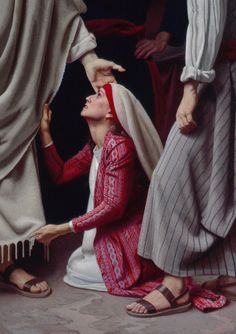 Simon Dewey The woman healed by touching the hem of Jesus' garment. Bible Pictures, Jesus Pictures, Jesus Pics, Simon Dewey, Jesus E Maria, Religion, Biblical Art, My Jesus, Lord And Savior