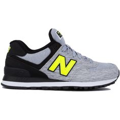 New Balance Women's 574 Sweatshirt Sneakers - Grey/Black/Yellow (120 BAM) ❤ liked on Polyvore featuring shoes, sneakers, new balance trainers, lace up sneakers, platform sneakers, black sneakers and new balance sneakers