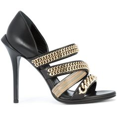 Roberto Cavalli gold-chain strappy sandals (152,100 PHP) ❤ liked on Polyvore featuring shoes, sandals, black, black gold shoes, black gold sandals, black strappy sandals, monk-strap shoes and strappy sandals