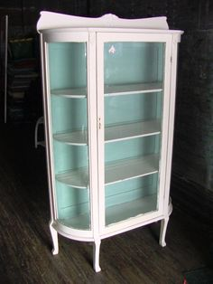 PAINTED OAK CURVED GLASS CHINA CABINET CLOSET C.1900