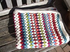 Brights crocheted blanket, throw or picnic rug