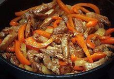 Мясо по-тайски Ингредиенты: — Мясо — Перчик сладкий — Молоко — Карри — Соус соевый — Соль по вкусу —