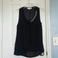 """HP! 🌠 Tank with embellishment Black, sheer tank with asymmetrical beads on one side and pleats on the other. Unique & elegant. Bought at a boutique in Austin, Texas, and it doesn't fit me right. Make an offer! 25% off all bundles!  05/19/2016 """"Best in Tops"""" Host Pick! 🎉 Thank you @melissaa1230! ✨😁 Luxe Apothetique Tops Tank Tops"""