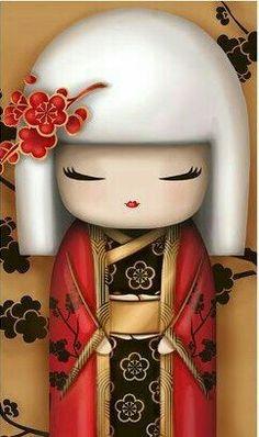 "✿ Kimmidoll Illustration ~ ""Natsuki"" 'Courageous' ✿ ""My spirit geisha Red & gold Paper Dolls, Art Dolls, Asian Doll, Japanese Embroidery, Kokeshi Dolls, Cartoon Pics, Cute Illustration, Japanese Art, Japanese Kimono"