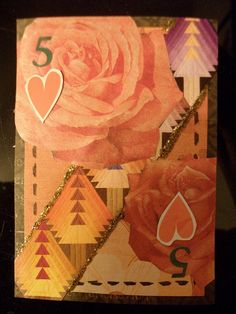 Altered Playing Card: 5 of Hearts by LauraAust, via Flickr