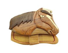 Horse Head Stables hand-carved puzzle box with No Paints! No Stains! Hidden felt lined interior that hides jewelry, gift cards, or money. No two will ever be identical! Pet Carvers *** To view further for this item, visit the image link. (This is an affiliate link) #DecorativeAccessories