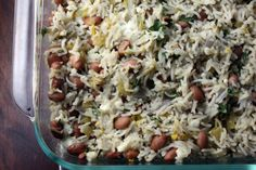 Baked rice with chiles and pinto beans. side dish for mexican food