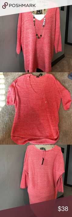 Express Over-Sized Coral Sweater NWT!! Super cute coral over sized sweater with 3/4 sleeves. Size large Express Sweaters V-Necks