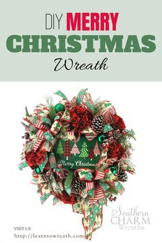 Create a beautiful Merry Christmas wreath for your front door with my step by step instructions.  Decorative ribbons, an adorable holiday sign, winter florals and other floral accents combine together to make a wreath that will look great on your door or mantle!  This wreath is one of many that you will learn how to make for your home! Christmas Wreaths For Front Door, Winter Wreaths, Holiday Wreaths, Holiday Signs, Holiday Decor, Christmas Crafts, Merry Christmas, Door Hangings, How To Make Wreaths