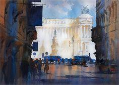 On the Via del Corso - Rome. Thomas W. Schaller. Watercolor on Fabriano Artistico. 22x30 Inches. 01 Dec. 2016.