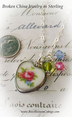 Broken China Jewelry Sweet Pink Rose Charm Pendant Necklace