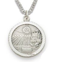 "Sterling Silver Swimming Medal, St Christopher on Back Sports Jewelry Boys Sports Patron Saint St Medal Catholic with St Christopher on Back Gift Boxed w/Chain 20"" Length Gift Boxed"